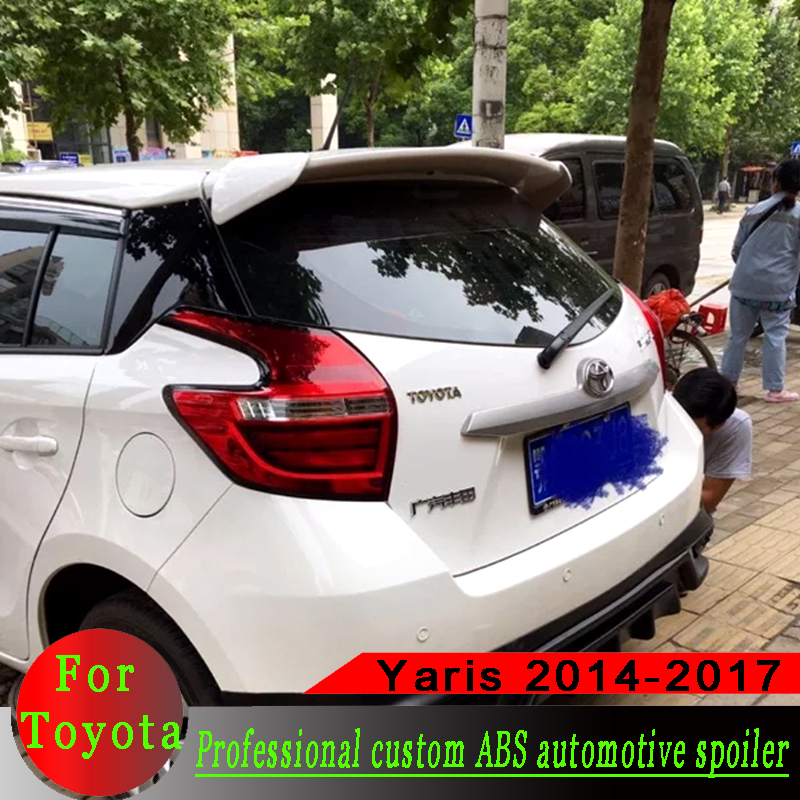 For <font><b>Toyota</b></font> <font><b>Yaris</b></font> Spoiler 2014 2015 2016 2017 spoiler High Quality ABS Material Car Rear Wing primer or black or white Spoiler image