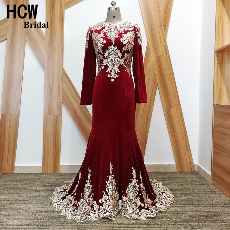 Long Sleeve Burgundy Mermaid Evening Dress 2019 High Quality Lace Appliques Velvet Long Occasion Dresses Arabic Evening Gowns
