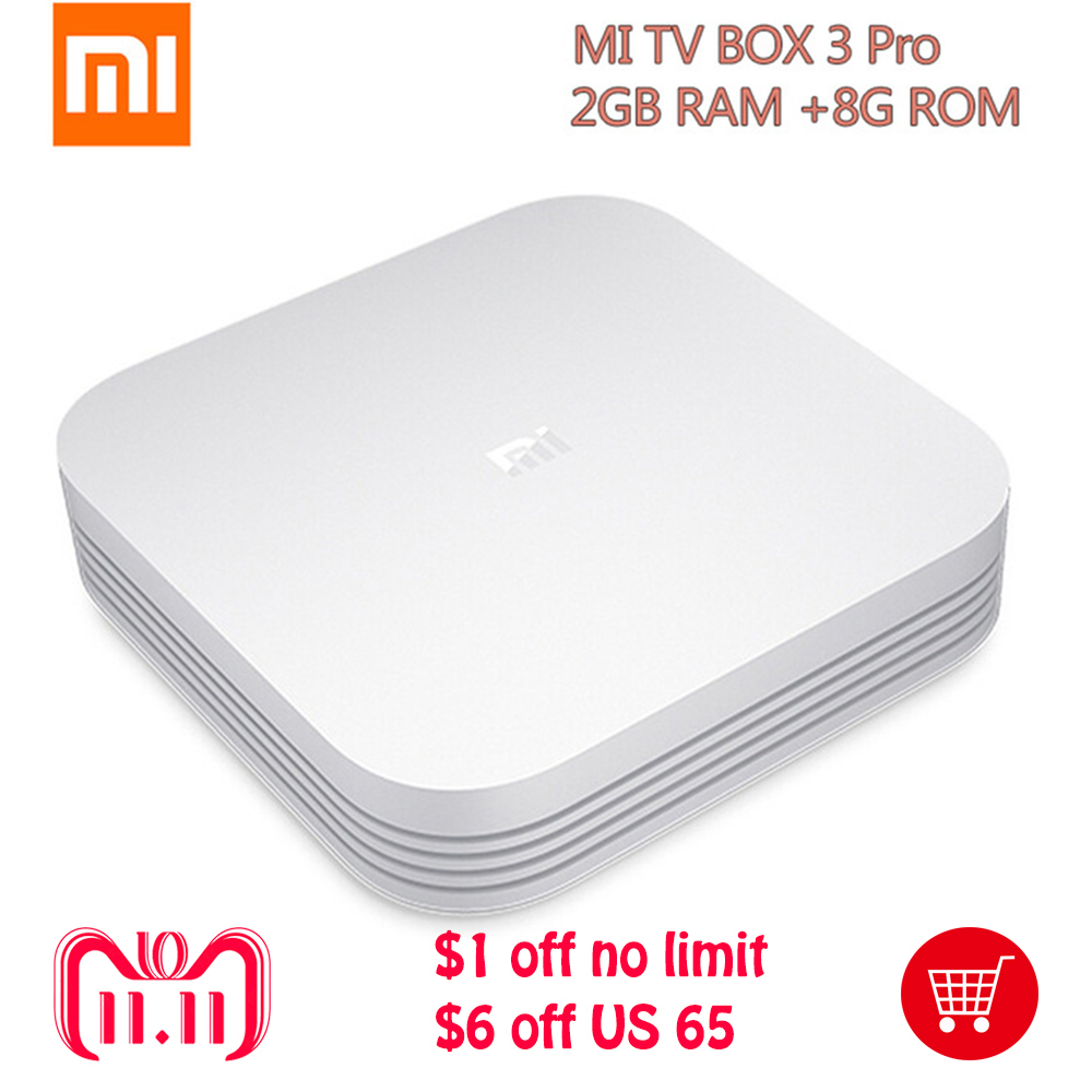 Original Xiaomi Mi TV Box 3 Pro Enhanced Version Android 5.1 Wifi Bluetooth 4.1 Smart 4K HD 2G/8G Dual Core 64bit 4K OTT Box цена