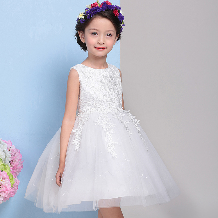 FREE SHIPPING  children's clothing one-piece dress child formal dress flower girl  puff  wedding dress
