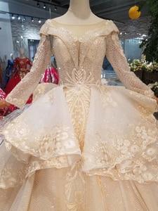 Image 2 - HTL046 International new design wedding dresses with peplum o neck long sleeves ball gown sukienka na wesele dla gościa