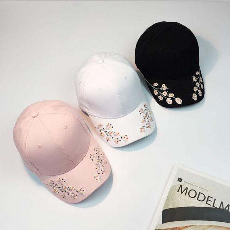 2017 New Peach blossom Snapback Flower summer Embroidery Curved Summer Snapback Baseball Caps women men Strapback Hip Hop Hat