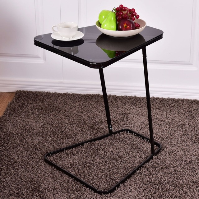 Goplus Modern Gl Top End Table Accent Side Snack Coffee Sofa Portable Black C Shape