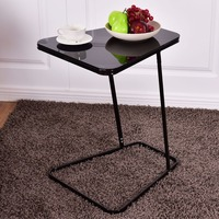 Goplus Modern Glass Top End Table Accent Side Snack Coffee Sofa Table Portable Black C Shape