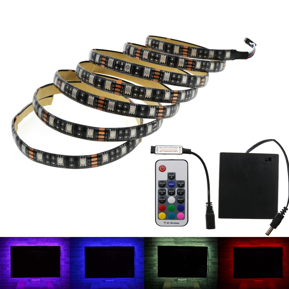 5050 RGB Battery LED Strip 5V Black PCB Decorative Light 4*AA Battery Operated With 17Key RF Controller5050 RGB Battery LED Strip 5V Black PCB Decorative Light 4*AA Battery Operated With 17Key RF Controller