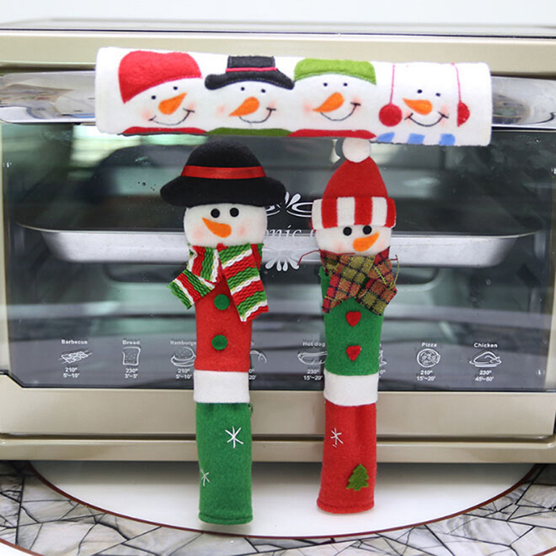 3PCS/Set Snowman Kitchen Appliance Handle Covers  Microwave Door Refrigerator Handle Sets Christmas Decor Kitchen Tools