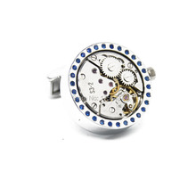 Wholesale&retail Lepton 2015 New Functional Watch Movement Cufflinks Blue Crystal cufflinks Steampunk Gear cuff links Promotion