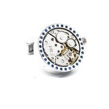 Wholesale&retail Lepton 2015 New Functional Watch Movement Cufflinks Blue Crystal cufflinks Steampunk Gear cuff links Promotion