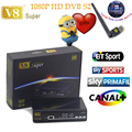 Nueva freesat HD 1080 P V8 súper DVB-S2 Receptores de Satélite de la Ayuda 3G Dongle WiFi cccam Youtube + 1 año servidor
