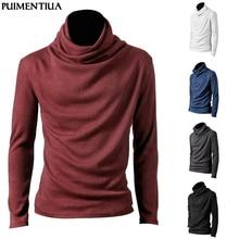 Men's Fashion Long Sleeve Knitted T-Shirt Slim Male High Nec