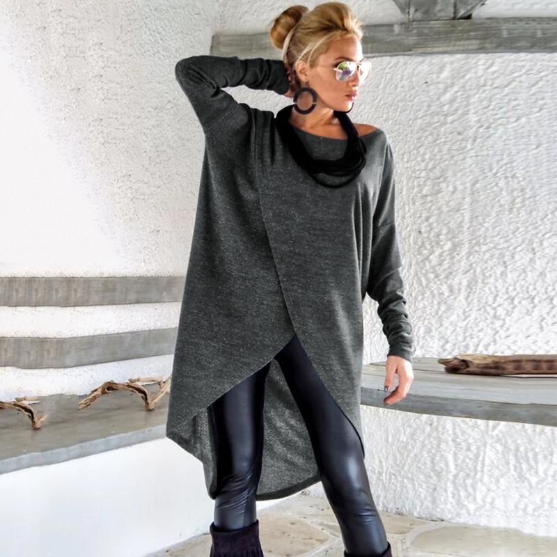 Fashion Women Asymmetric Dress Round Neck Long Sleeve Solid Color Autumn Spring Midi Dresses Casual Loose Vestidos Plus Size 5XL