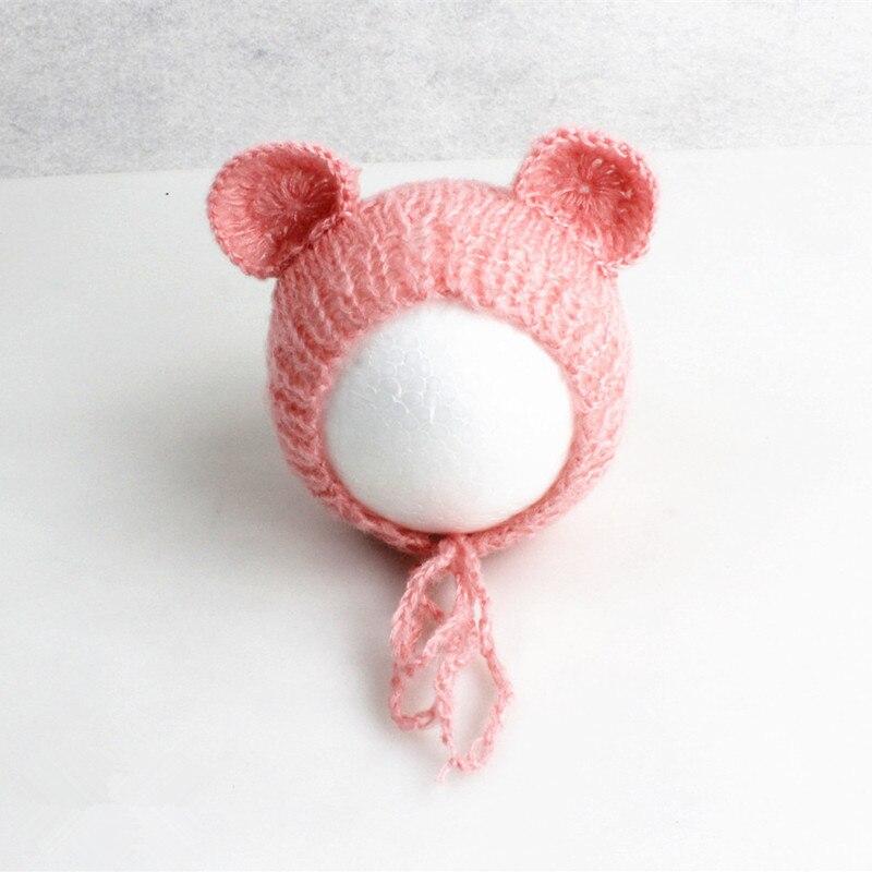 Baby Cap Handcraft Mohair Fluffy Crochet Teddy Bear Bonnet Hat Beanie Photo Prop Newborn Photography Props Accessories