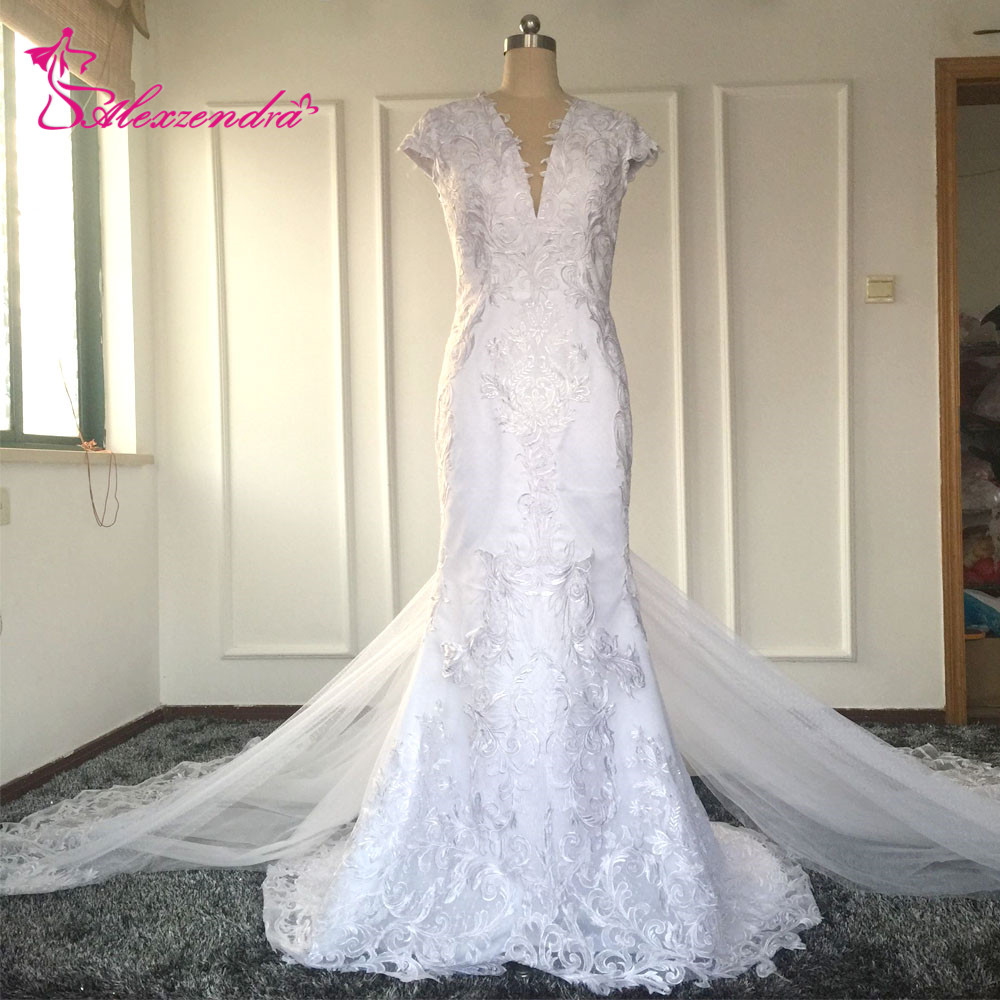 Real photos sexy mermaid wedding dresses with detachable for Wedding dresses with interesting backs
