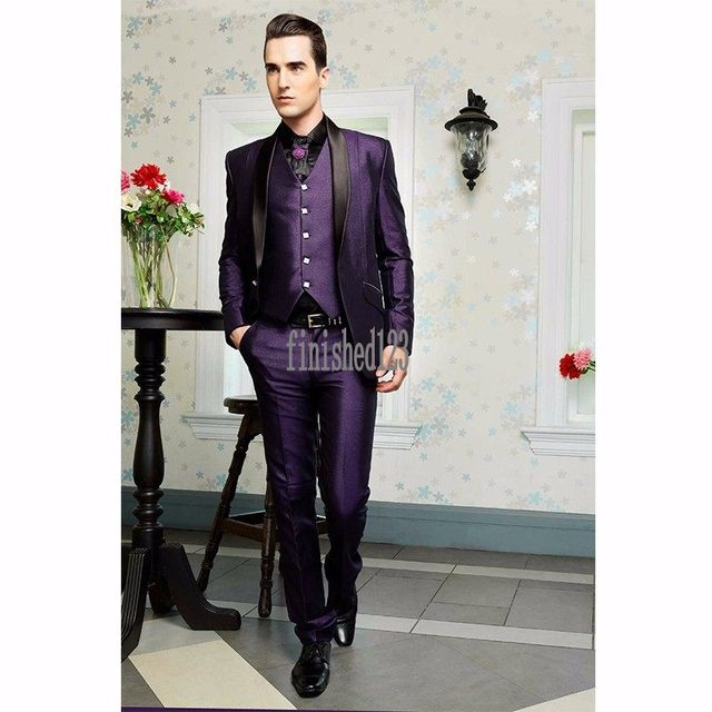 Handsome One Button Purple Groom Tuxedos Groomsmen Men's Wedding Prom Suits Bridegroom (Jacket+Pants+Vest) K:1082