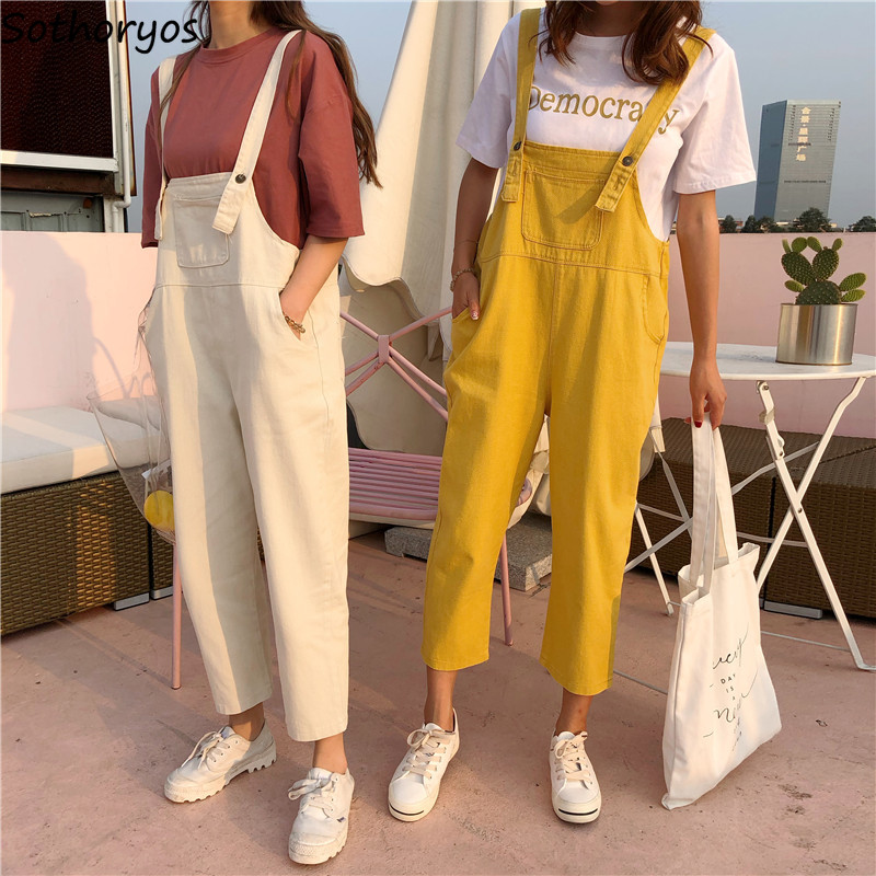 Jumpsuits Women Wide Leg Loose Strap Trousers Newest Fashion Korean Style Harajuku Chic Casual Student Womens Jumpsuit All-match Сумка