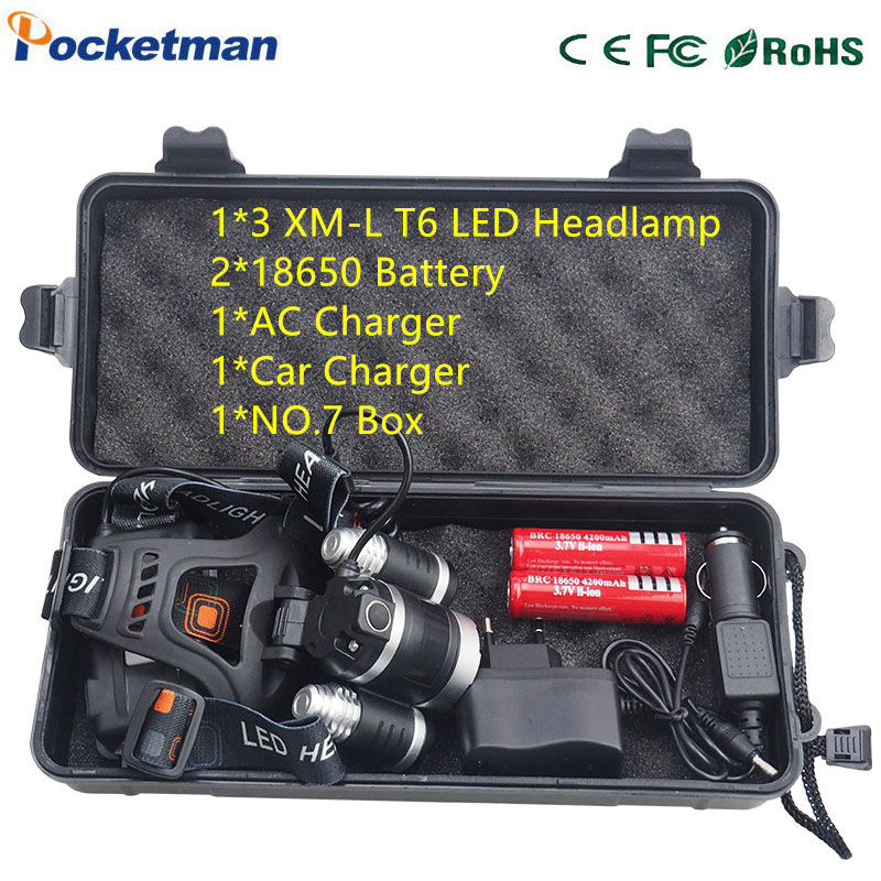 Powerful headlamp 3x XM-L T6 LED Headlight 10000 Lumen Head Lamp Flashlight lampe frontale Lanterna 90 degree night Self-defence 3 t6 headlamp 3x xm l t6 led headlight 10000 lumens head lamp flashlight lampe frontale lanterna headlamp 90 degree night light