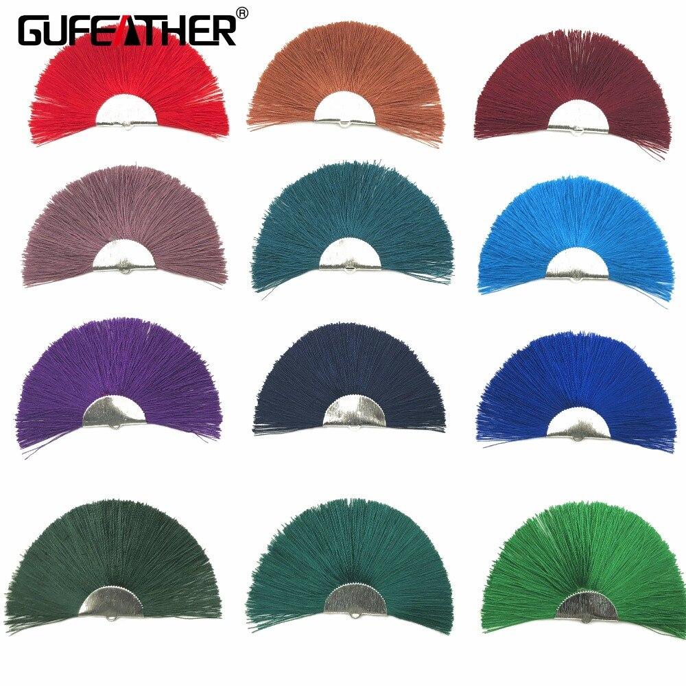 GUFEATHER L133/4CM/fan Tassel/silver Metar Tassels/earrings Accessories/Silk Tassels/Bohemian Style/jewelry Materials 2pcs/bag