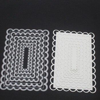 Swovo zagnieżdżone szyte przegrzebka prostokąt ramki metalowe wykrojniki DIY wyryte umiera Craft papier do scrapbookingu tłoczenie
