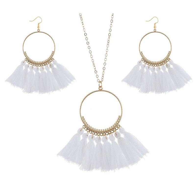cjh022 Christmas Hoops Tassle Tassel Earrings Necklace Set Drop Fringe Necklace Set
