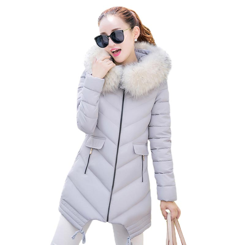 2017 Winter Women Cotton-padded Jacket Fur Collar Hooded Outerwear Long Section Thick Slim Parkas Irregular Hem Coat PW0482 women thick winter large size long section padded hooded outerwear new fashion fur collar slim padded cotton warm coat jacket