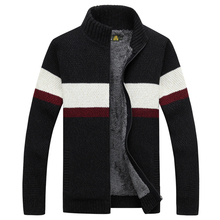 NIANJEEP Brand Clothing Winter Sweater Men Striped Cotton Stand Collar Cardigan Men Thicken Wool Liner Coat 2016 New