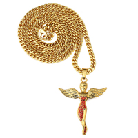 NYUKI Angel Pendant Necklace With Red Rhinestone Creative Gift Boutique For Men Women Hip Hop Jewelry