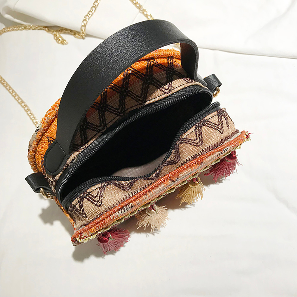 Women Tassel Chain Small Bags national wind round bag packet Lady Fashion Round Shoulder Bag Bolsos Mujer#A02 114