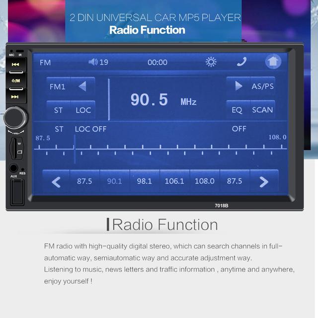 "Multimedia Car 2 Din Central Multimidia DVR Front Rear Camera 2Din 7"" Touch Screen Bluetooth Radio Music Movie Player Autoradio"