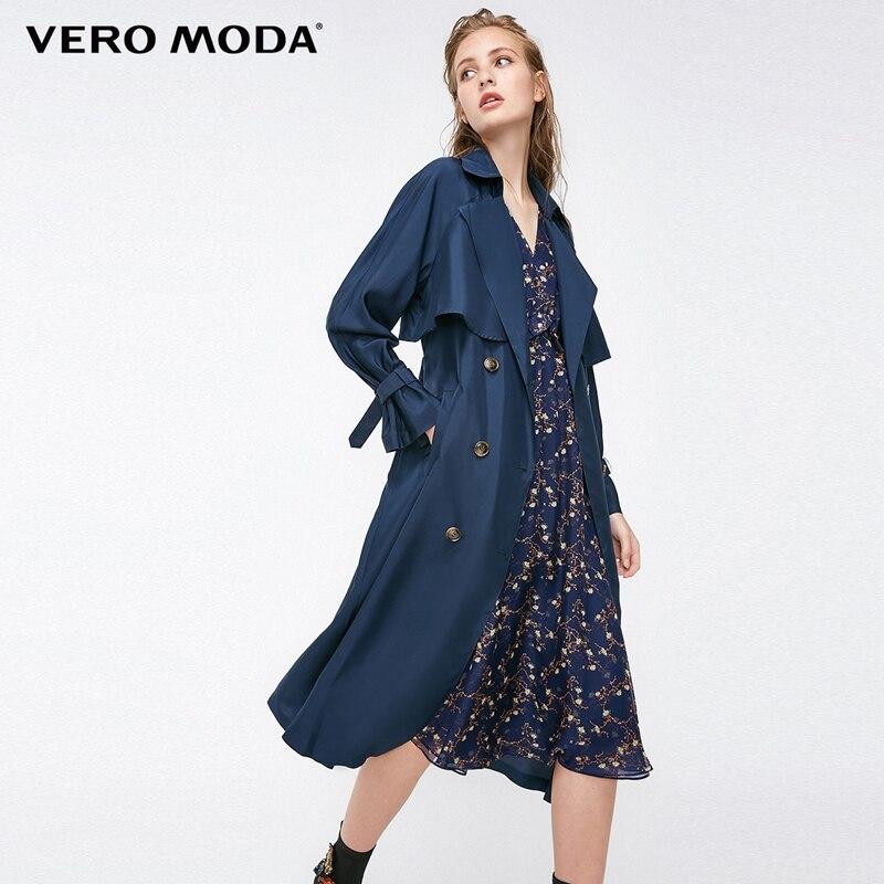 Vero Moda Straight Fit Medium Length Lapel Mulberry Silk Trench Coat 318321515