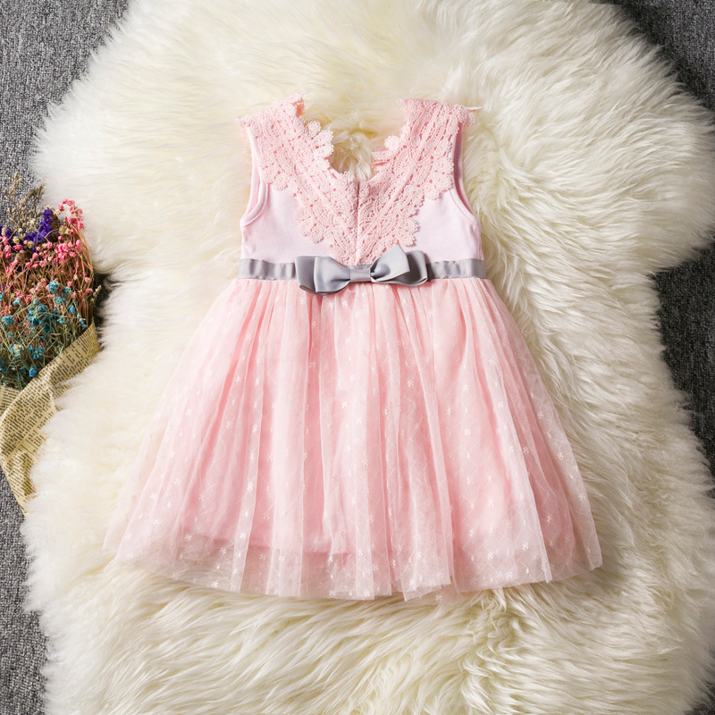 a2cab2304 2018 Spring Summer Lace Bow Baby Party Birthday Dress girls kids Children  Cotton dresses