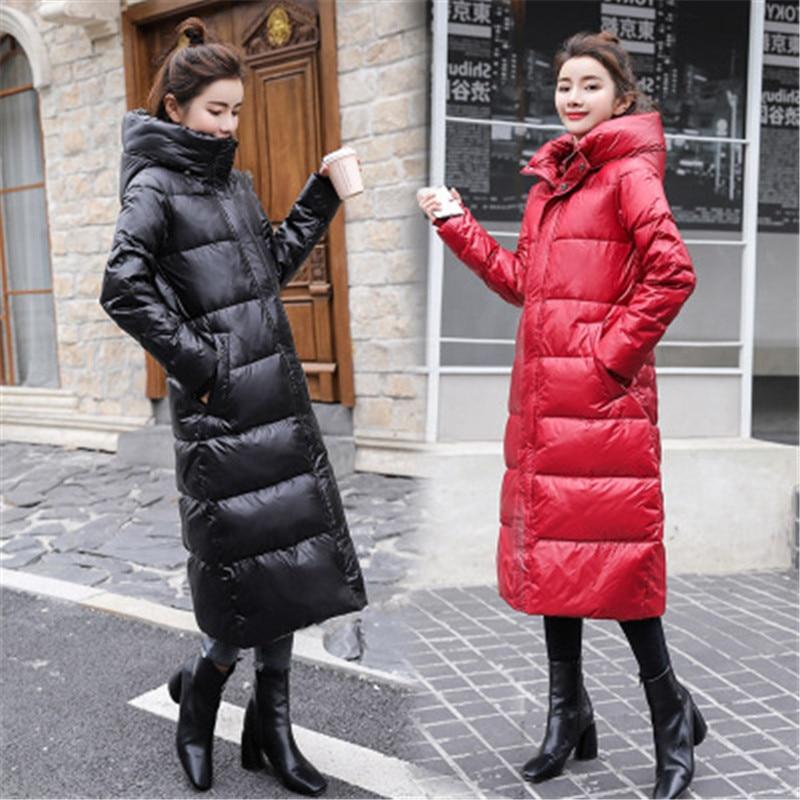 2019 New Autumn Winter White Duck   Downs   Jacket Women Long Parka Hooded   Coat   Female Casual Slim Ultralight Thin Jacket 754
