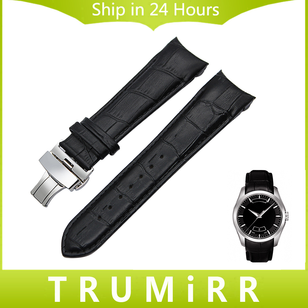 Curved End Genuine Leather Watchband 22mm 23mm 24mm for Tissot T035 Watch Band Butterfly Clasp Strap