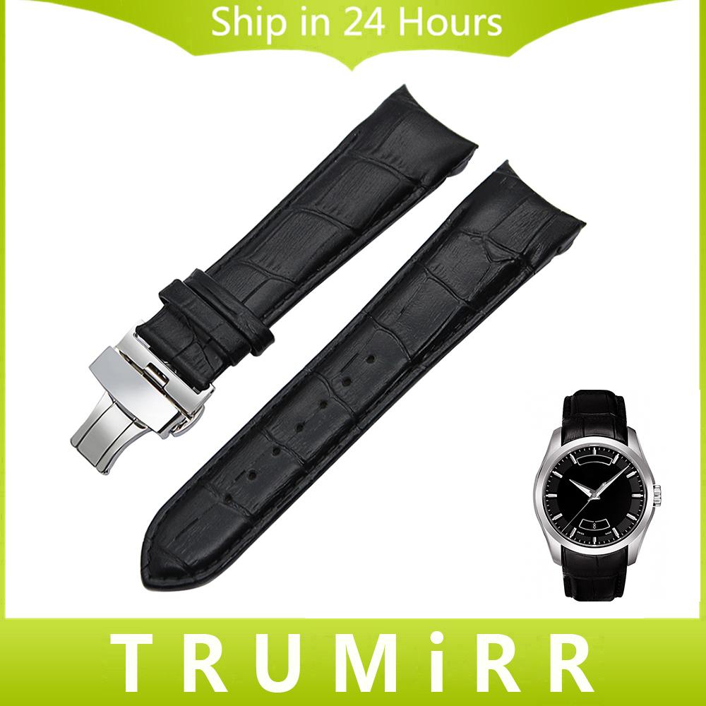 Prix pour Curved End Véritable Bracelet En Cuir 22mm 23mm 24mm pour Tissot T035 Montre Bande Butterfly Fermoir Bracelet Poignet Bracelet Noir Brun