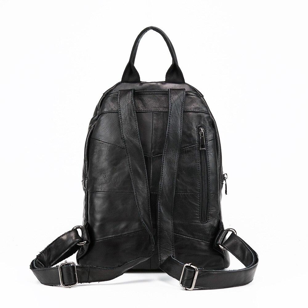 Nouveau cuir Double epaules sac japon corée mode tendance sac à dos en cuir loisirs décontracté étudiant sac - 4