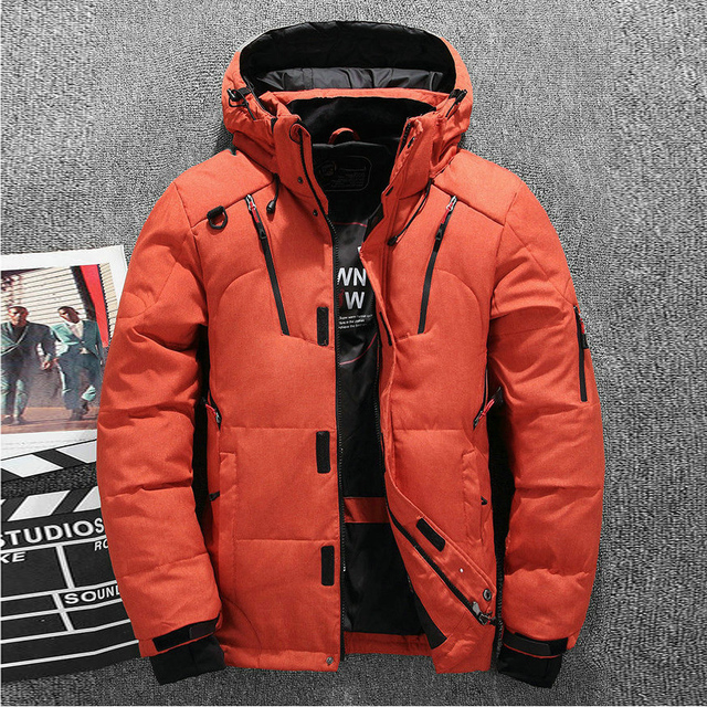 Thick Warm Men Winter Jacket Solid Hooded Mens Down Parka Casual Down Male Overcoat With Many Pockets