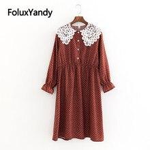 Lace Print Dress Women Casual O-neck Long Sleeve Plus Size Spring Midi Dress Vestidos KKFY3224 casual long sleeve geometric print plus size dress for women