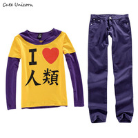 Cute Unicorn Anime No Game No Life Sora Cosplay Costume Long Sleeve T Shirt + Pants mens tops trousers boys clothes