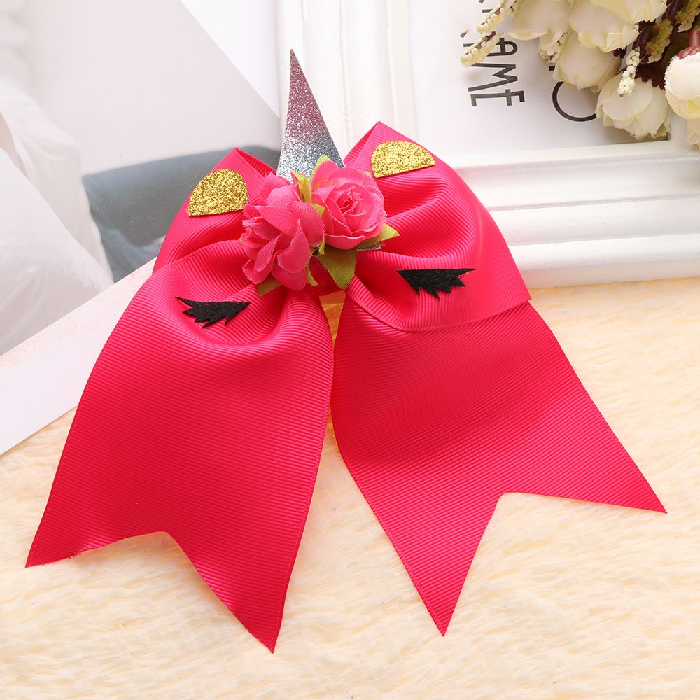1PC  Ribbon Bows cartoon rainbow unicorn flower hair Bow hairpins With Hair Accessories For gift various colors flowers