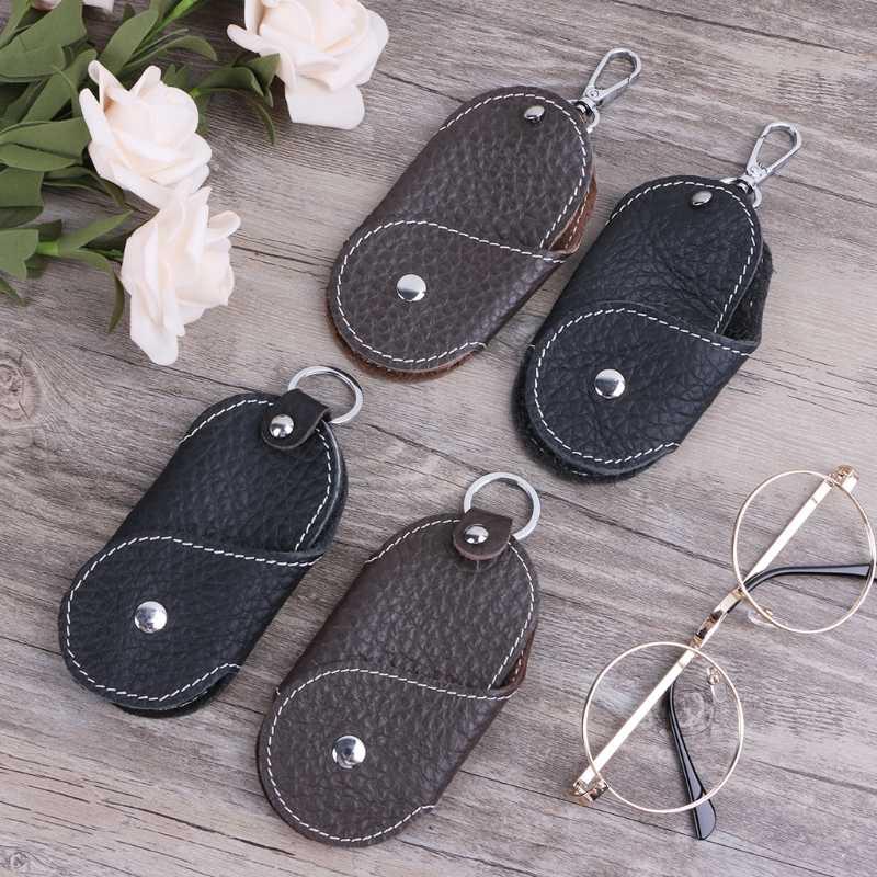 1× Men Leather Metal Car Keychain Keyring Purse Bag Key Chain Ring Keyfob Unisex