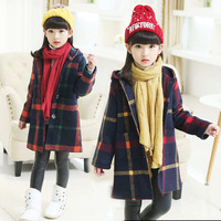 2018 Spring Autumn Winter Coat New Children Woolen Coat Girls Long Wool Clip Style Warm Cotton