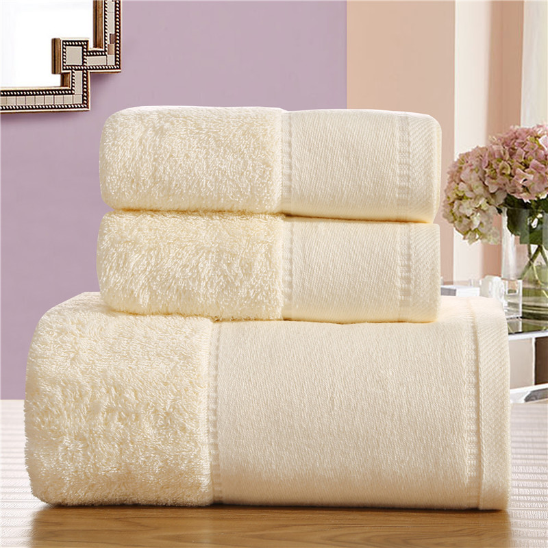 3pieces cotton towel set solid color luxury bath towel for adults face towel high