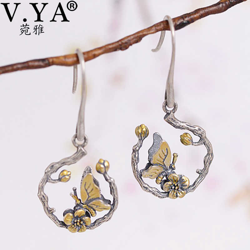 V.YA Cute Animal 925 Silver Earrings Jewelry for Women Butterfly Ladybug Earrings Dangles Fashion Female Gifts