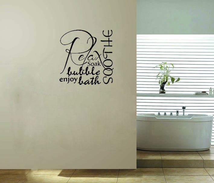 Relax Soothe Enjoy Bubble Bath Tub Bathroom Wall Stickers Quote Wall