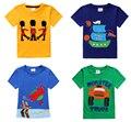 Marca de varejo novo 2016 das crianças t-shirt do bebê meninos camisetas camiseta roupa do verão meninos de algodão curto carro dos desenhos animados animais 22 - 42