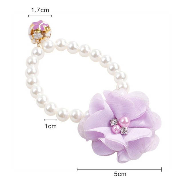 panDaDa 2018 New Fashion Pet Small Dog Cat Necklace Jewelry Beautiful Elastic Pearl Flower Stretch Collar