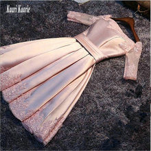 Fashion Pink Prom Dresses Short 2018 Cheap Prom Dress Boat-Neck Satin Appliques Lace-Up Built-In Bra Sexy Evening Party Gown cheap Cap Sleeve Beach Natural Polyester None Knee-Length kaari kaarie Boat Neck Illusion