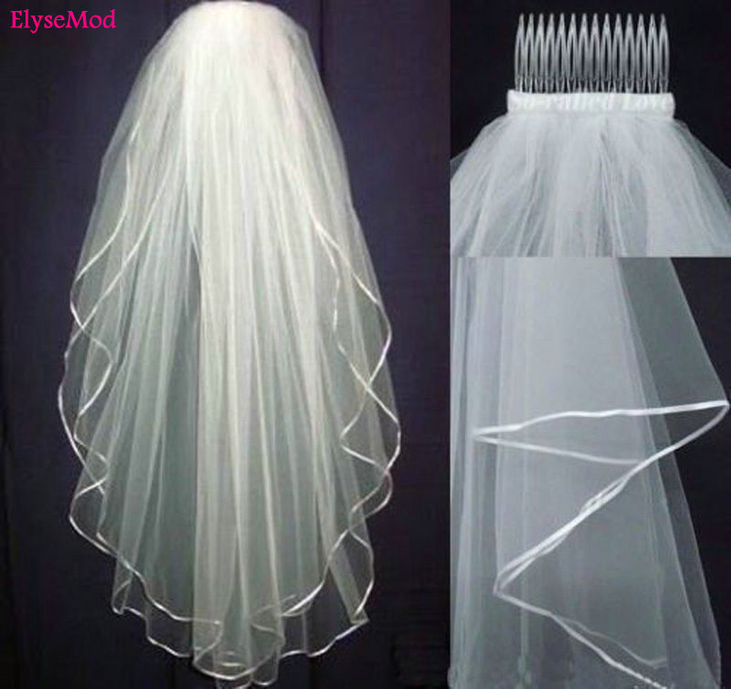 New White Ivory Wedding 2T Bridal Veil Elbow Length Satin Ribbon Edge With Comb Bride Bridal Veils