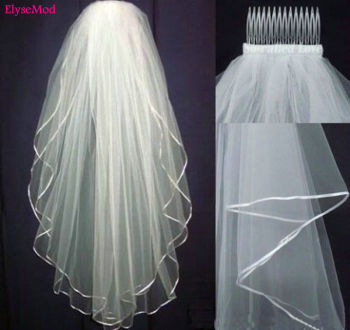 New White Ivory Wedding 2T Bridal Veil Elbow Length Satin Ribbon Edge with Comb Bride Veils - discount item  14% OFF Wedding Accessories