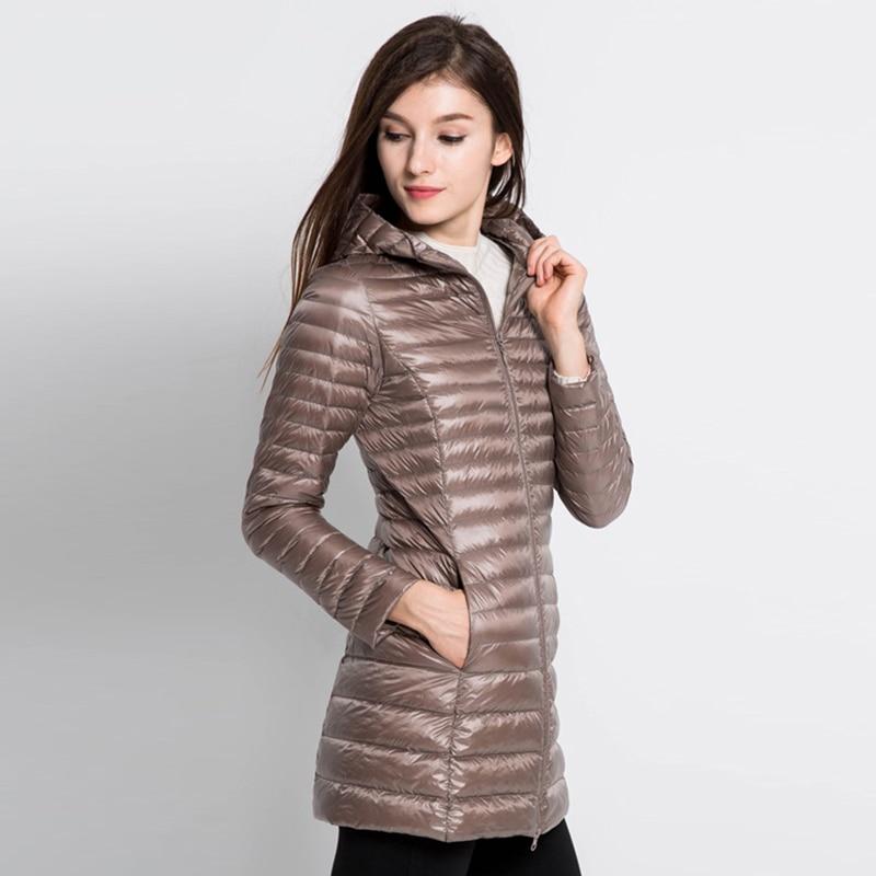 Womens Down Jacket Hooded Winter Duck Down Jackets Women Slim Long Sleeve Parka Zipper Coats Pockets Solid Women Ultra Light