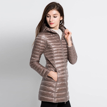 T INSIDE Down Jacket Hooded Winter Duck Down Jackets Women Slim Long Sleeve Parka Zipper Coats